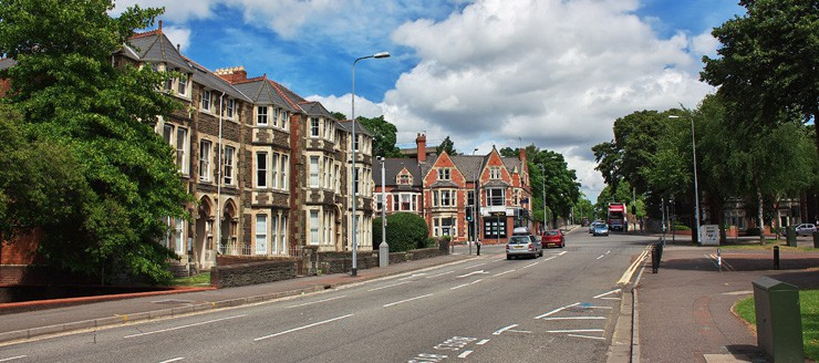 A street with houses in Cardiff