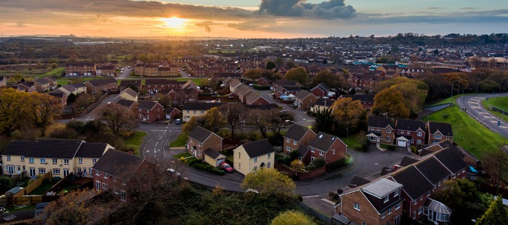 Aerial view of St. Mellons Town - Cardiff
