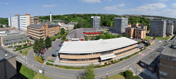 A aerial photograph of Swansea University