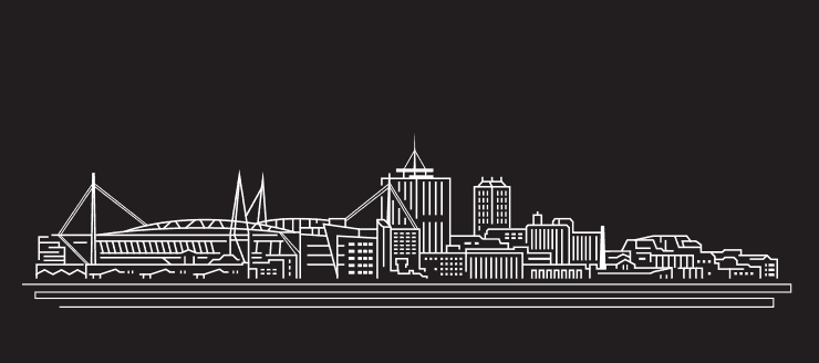 A line drawing of the Cardiff skyline