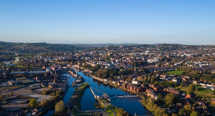 An aerial photgraph of the City of Exeter, UK