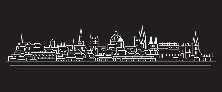 A line drawing of the Oxford skyline