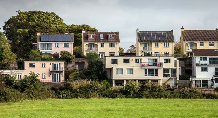 Residential housing on the outskirts of the city of Exeter, Devon