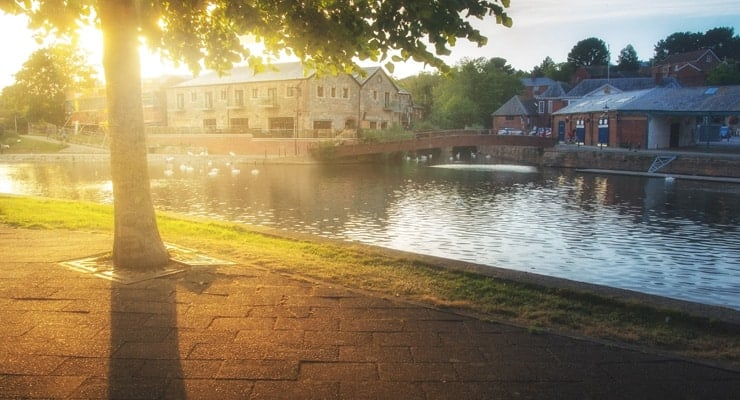 Sunset on the River Exe Embankment in Exeter, UK