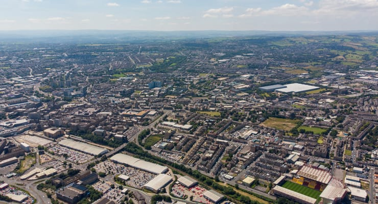 An aerial photo of the city of Bradford in Yorkshire, UK