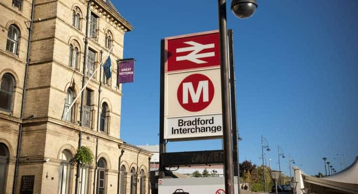 Photograph of the Bradford Interchange sign, The train station at Bradford, Yorkshire