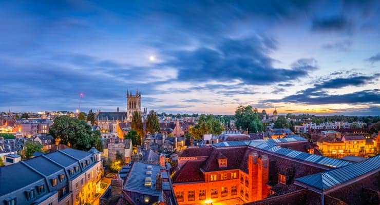 Areal view of the city of Cambridge, UK, at sunset