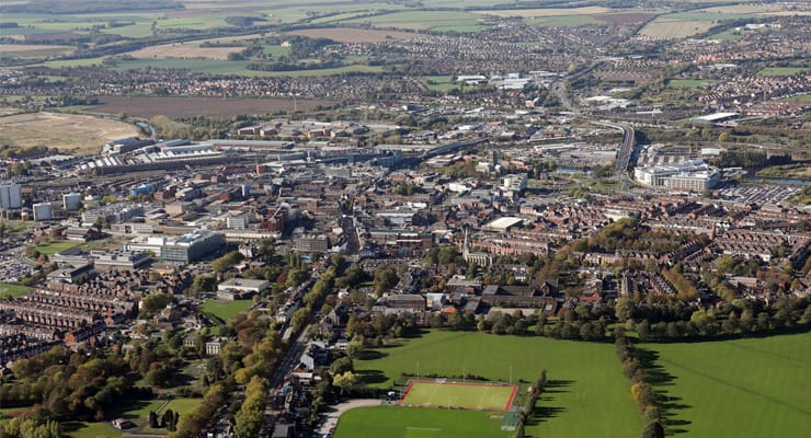 Aerial photograph of Dancaster in South Yorkshire