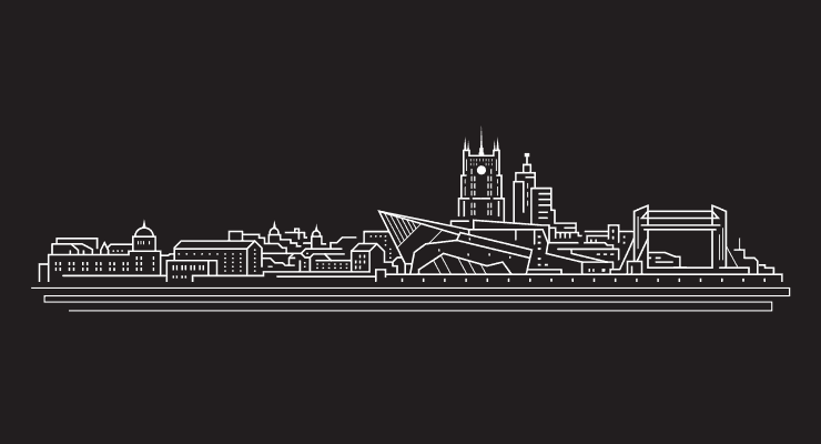 A black and white line drawing of the city of Kingston upon Hull which includes famous landmarks.