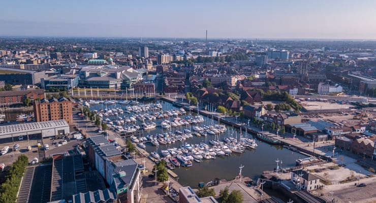 An aerial photograph of boats on Hull Marina taken on a sunny day