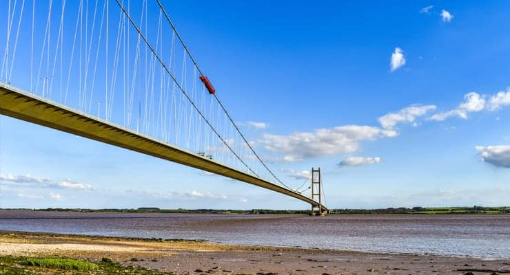 A photograph of the Humber Bridge