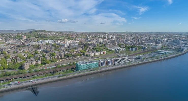 Aerial photograph of waterfront in Dundee, Scotland