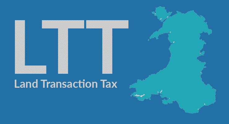 The letters LTT meaning 'Land Transaction Tax' next tp a map outline of the country of Wales