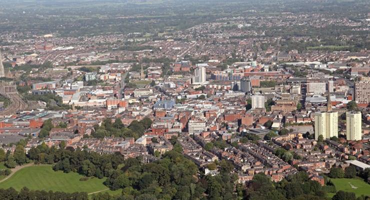 Aerial photograph of Preston City, Lancashire