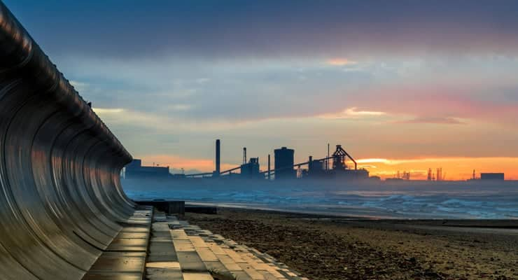 A photograph of the beach at Redcar at sunset