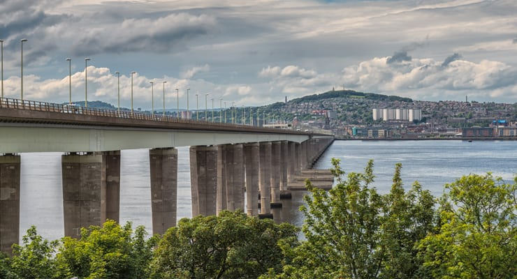 Photograph of the Tay Road Bridge with Dundee in the background