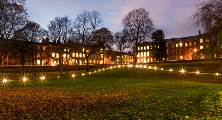 Photograph of Winckley Square, Preston, at twilight