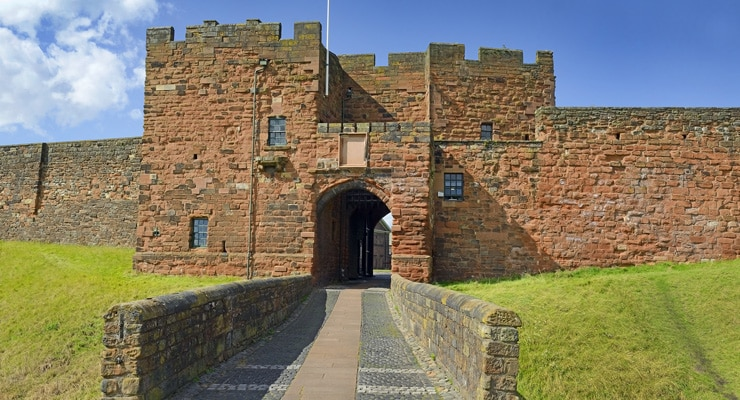 A view of the fron gate to Carlisle Castleon a summer day
