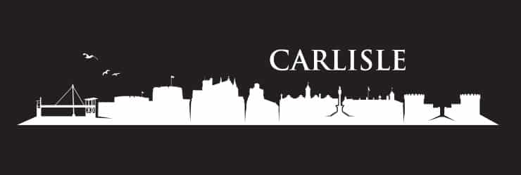 A black and white line drawing of the skyline of Carlisle with famous landmarks
