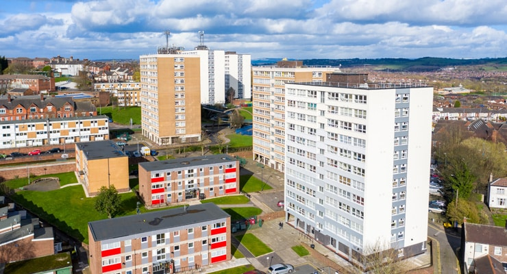 An aerial photograph of jigh rise tower blocks in Stoke-on-Trent, UK