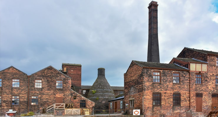 Photograph of historic potteries in Stoke-on-Trent