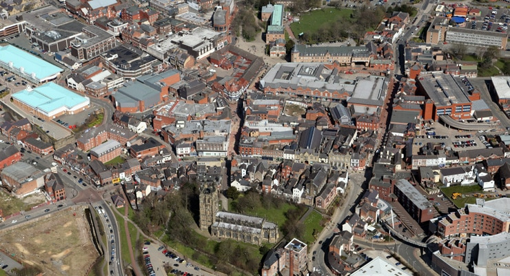 Aerial Photograph of Wrexham Town