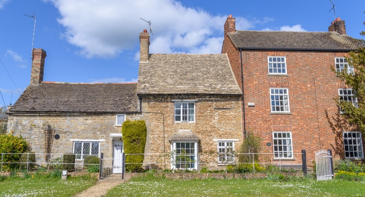 Traditional English stone cottages near Peterborough