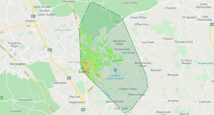 Map showing the bounderies of the LU2 postcode district area
