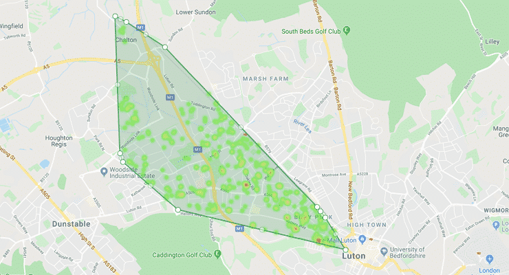 Map of the boundaries of the LU4 postcode district