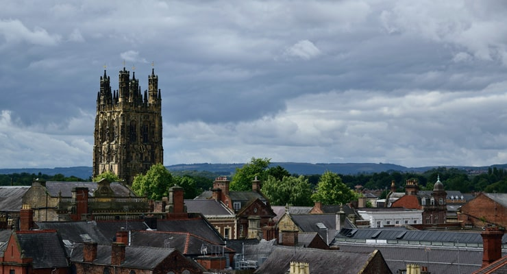 View over the roof tops of Wrexham.