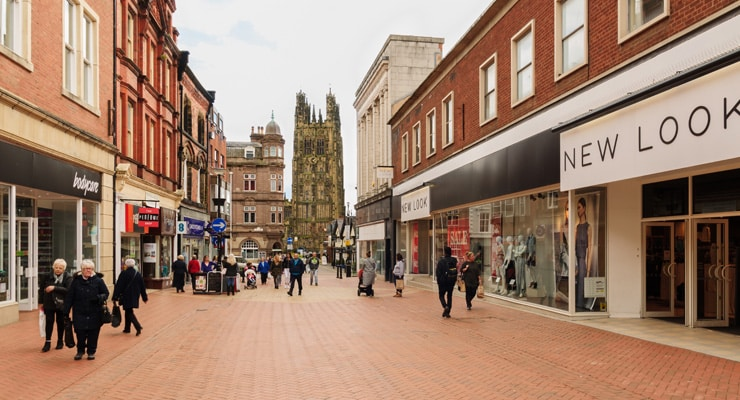 A pedestrianised shopping street in Wrexham town centre.