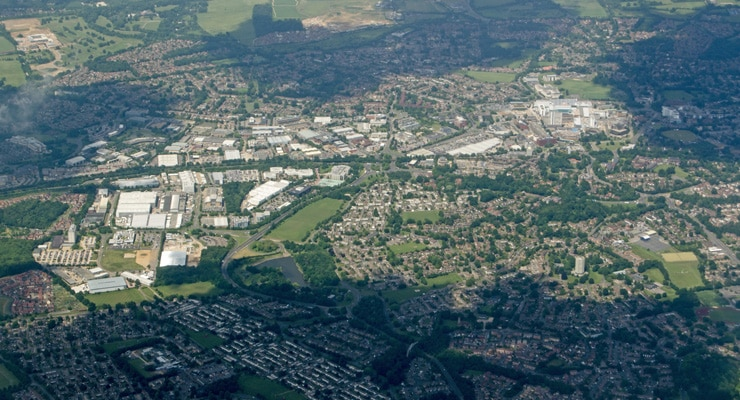 A high-up aerial view of Bracknell, UK