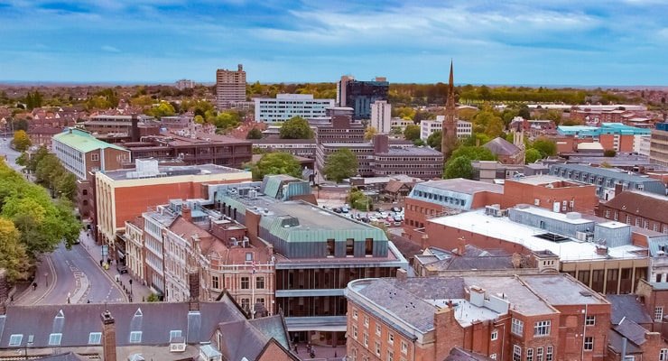 An aerial photograph of the City of Coventry