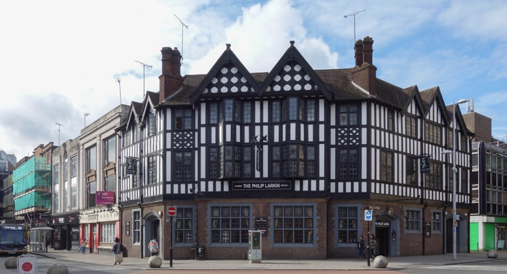 A photograph of the Philip Larkin Pub in the centre of Coventry