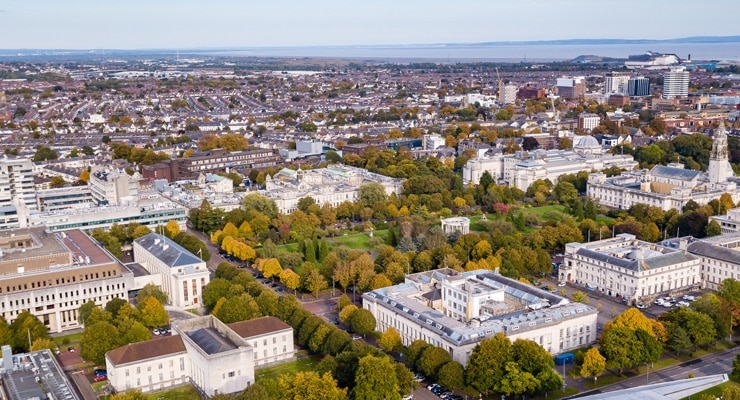 Aerial shot of Cardiff city centre showing parks and government buildings