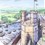 A sketch (pencil style) drawing of Caernarfon, including the castle