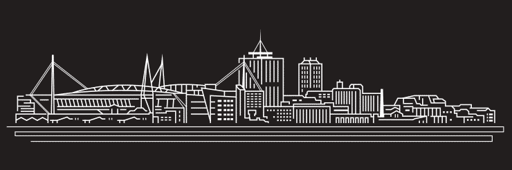 A black and white vector illustration and line drawing of Cardiff City, South Wales with all major landmarks