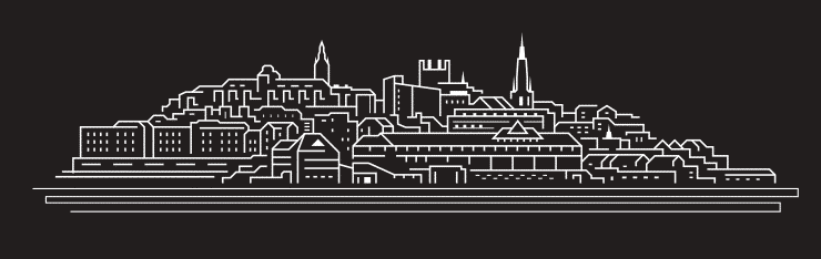 Black and white line drawing of the Chester skyline including famous landmarks