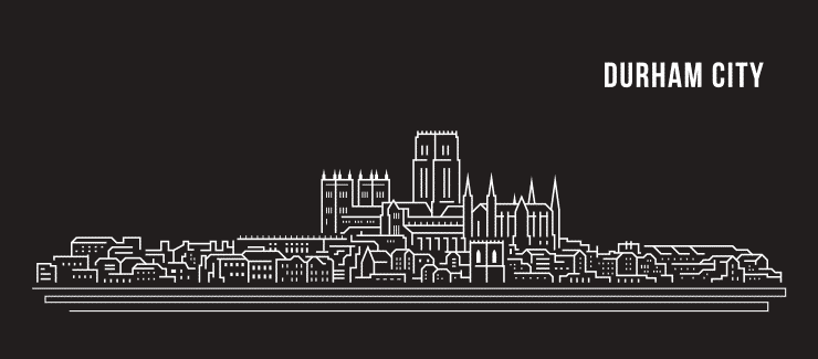 Balck and white vector line drawing of the Durham skyline including famous landmarks.