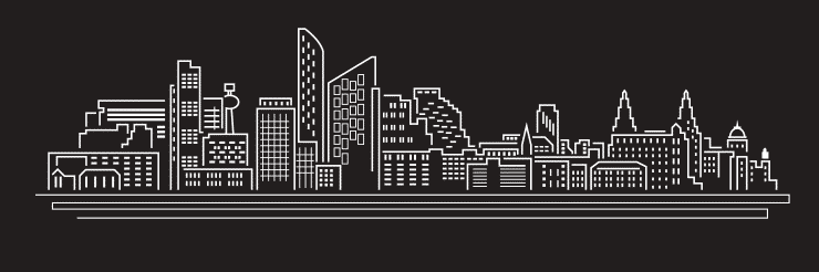 A back and white vector illustration nd line drawing of Liverpool's skyline including famous landmarks