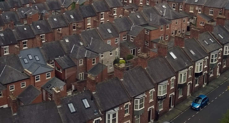 Aerial photograph of old brick houses in Durham