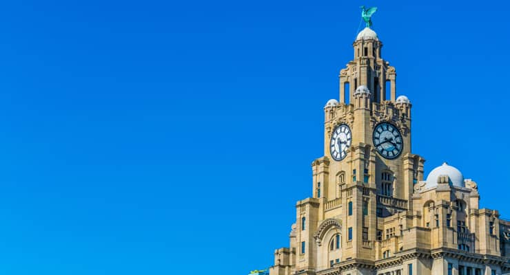 Photograph of the clocktower at the top of the Royal Liver Building in Liverpool