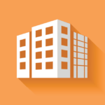 A simple icon, illustrating a block of flats