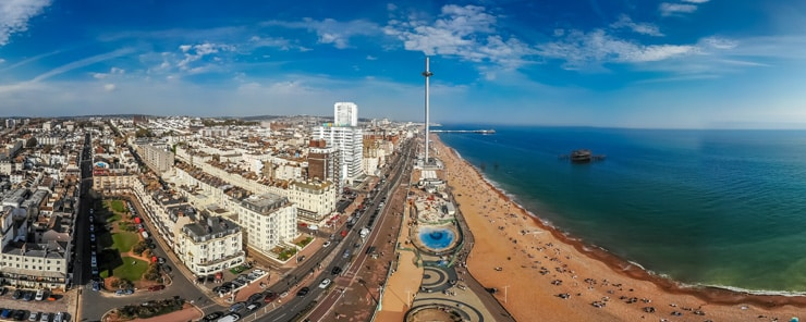 A panoramic aerial photograph of the The seafront of Brighton