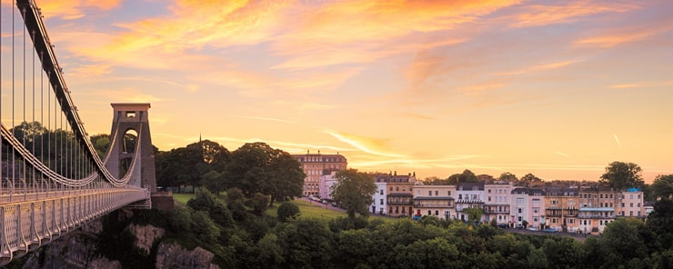 Sunset over the Clifton Suspension Bridge in Bristol with Clifton in the background