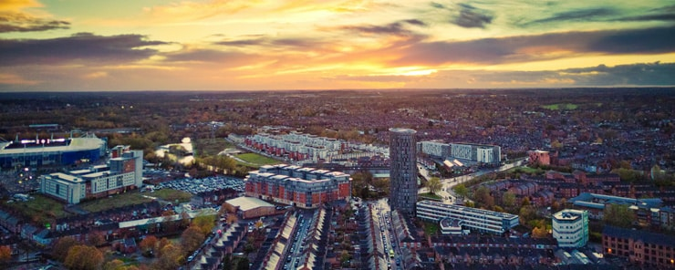 Stunning cloud formations over Leicester city. Aerial photograph at sunset.