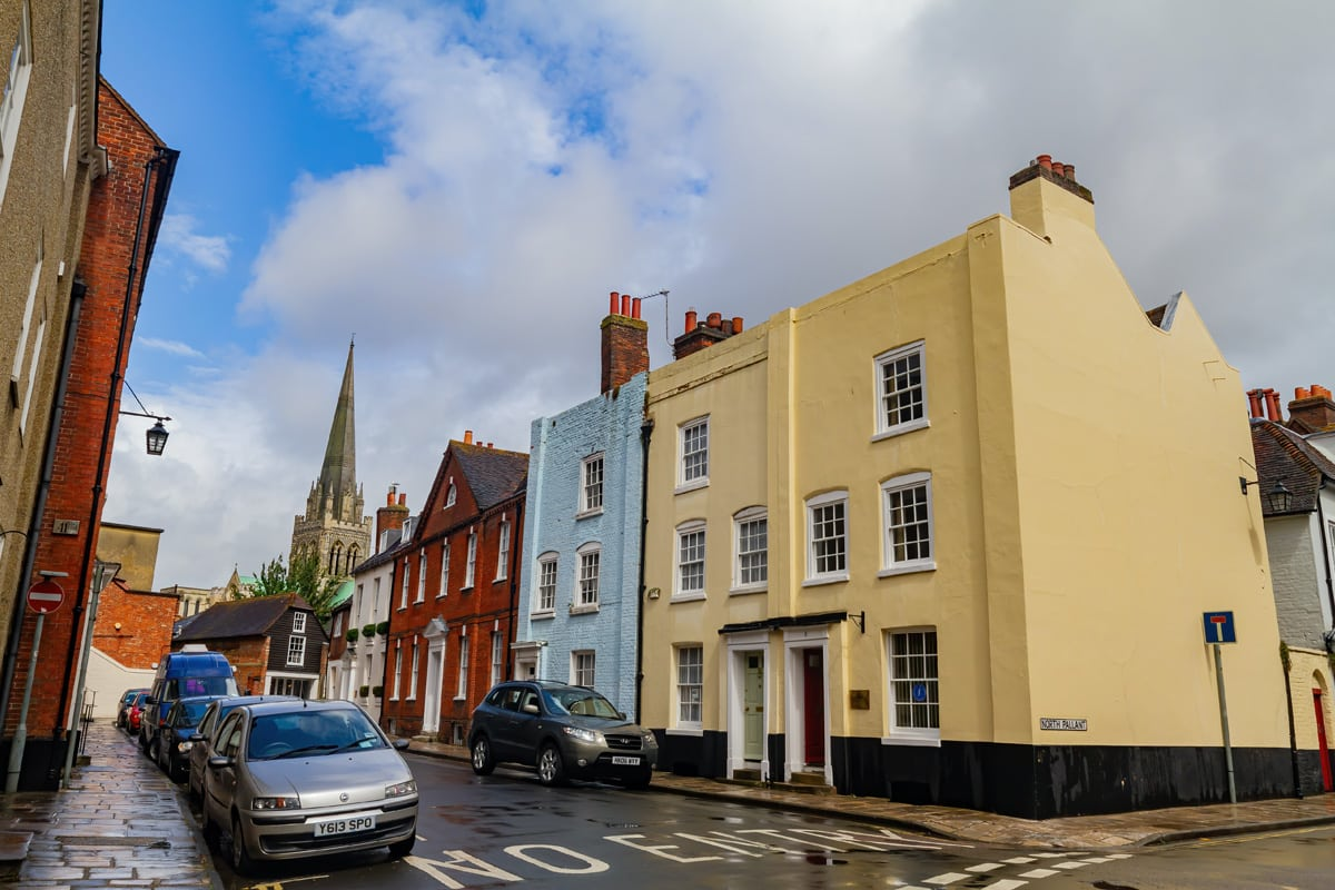 Colourful houses on a high street in Chichester, UK
