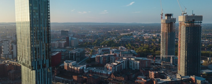 A drone photograph of Manchester City Centre with Beetham Tower in the foreground