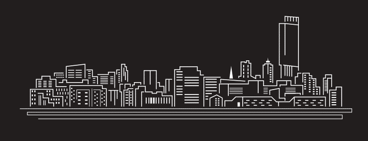A black and white vector graphic of the skyline of Manchester with famous landmarks
