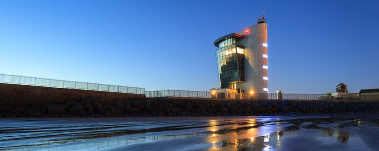 The Marine Operations Centre at Pocra Quay, North Pier in Aberdeen. Photograph taken at dusk.